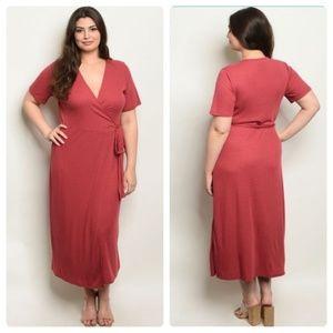 Boutique Plus Size Midi Wrap Dress